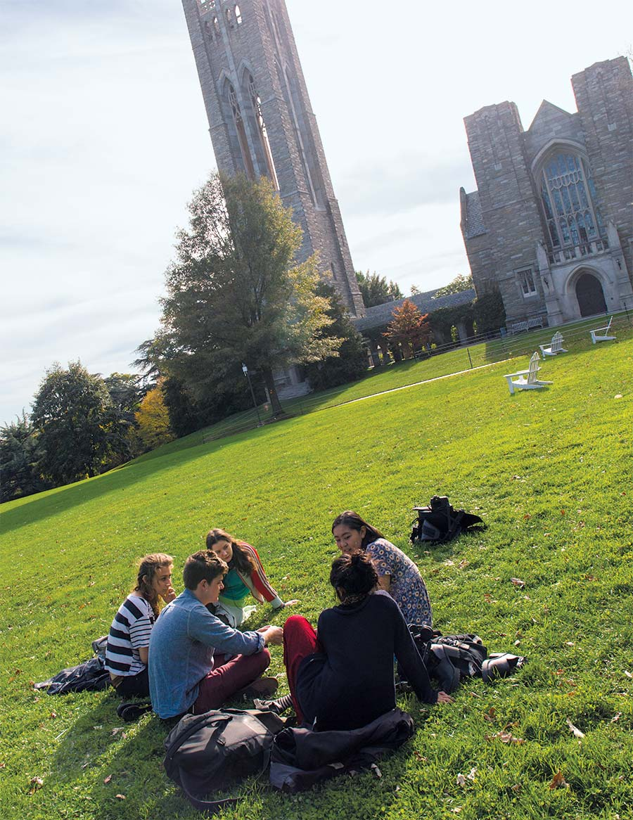 students sitting on the grass of the campus courtyard